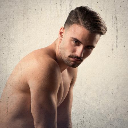 nude male body: Brunette man in underwear Stock Photo
