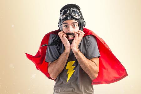 frightened: Frightened Superhero Stock Photo