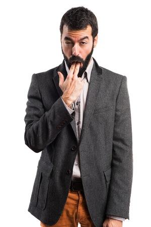 vomito: Hombre que hace gesto vómitos Foto de archivo