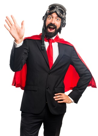 personas saludando: Negocios del héroe estupendo saludando