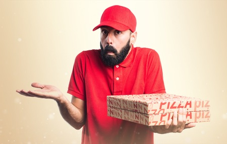 unimportant: Pizza delivery man making unimportant gesture