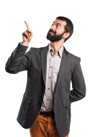 screen: Man touching on transparent screen
