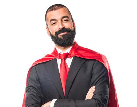 super cross: negocios del héroe estupendo con los brazos cruzados Foto de archivo