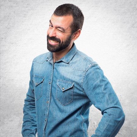 Man winking Stock Photo
