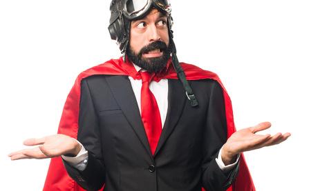 unimportant: Super hero businessman making unimportant gesture