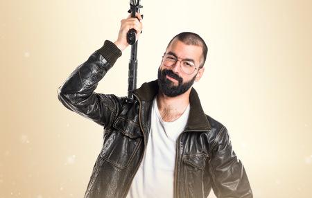 pimp: Pimp man holding a rifle Stock Photo