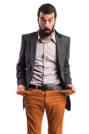 Ruined man looking money in their pockets Stock Photo