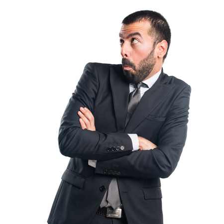 unimportant: Businessman making unimportant gesture