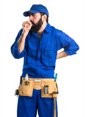 coughing: Plumber coughing a lot