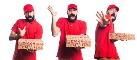 frightened: Frightened Pizza delivery man