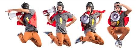 Superheld schreit durch Megaphon Standard-Bild - 51768680