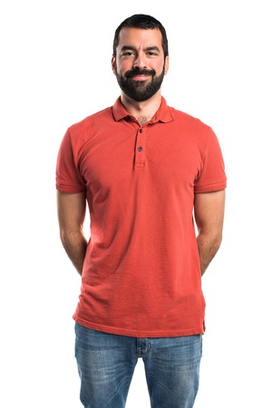 Man wearing red polo shirt Stock Photo