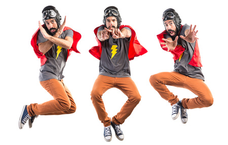 Superhero doing NO gesture