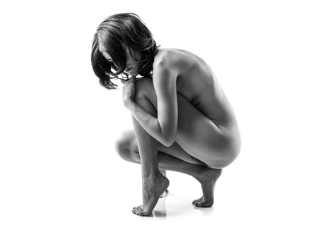 naked young people: Artistic nude in black and white