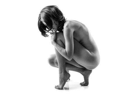 jeune femme nue: Nu Artistique en noir et blanc