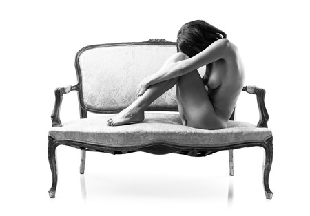 nude girl sitting: Naked pretty girl