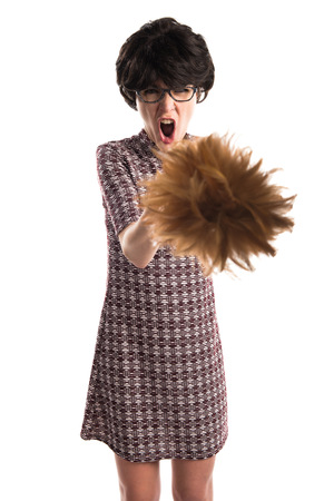 duster: Brunette girl holding a duster