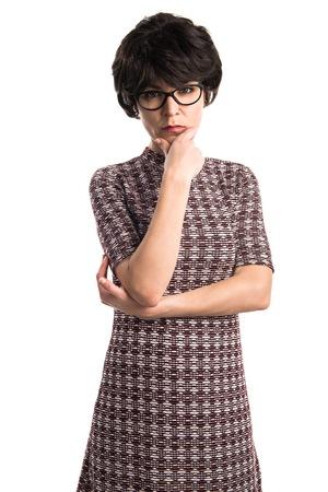 vintage look: Girl with vintage look thinking