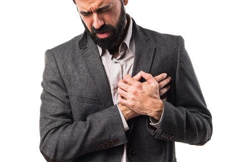 heart hands: Man with heart pain
