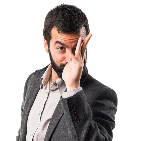 mockery: Man making a joke Stock Photo