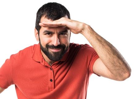 presenting: Handsome man presenting something Stock Photo