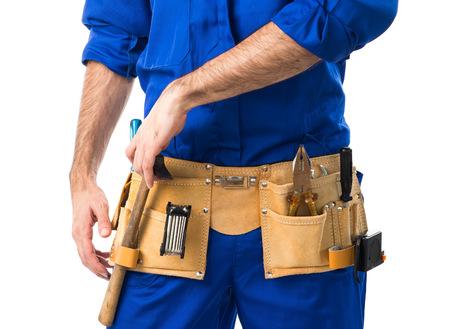plumber: hombre fontanero Foto de archivo