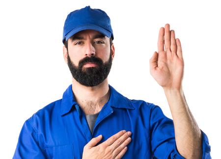 Plumber doing oath