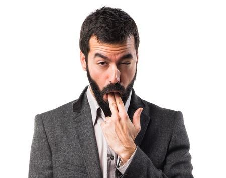 vomito: Hombre que hace gesto v�mitos Foto de archivo
