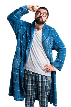 dressing gown: Man in dressing gown having doubts