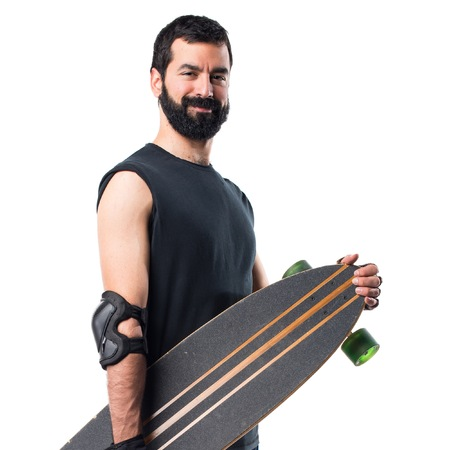 skater: Skater with his longboard Stock Photo