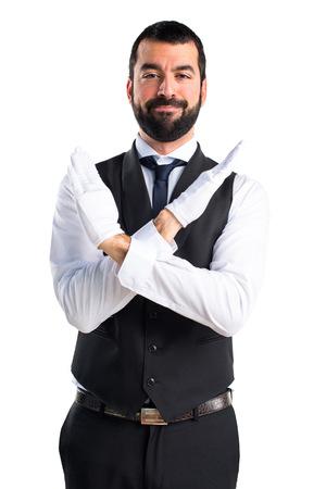 warning vest: Luxury waiter doing NO gesture