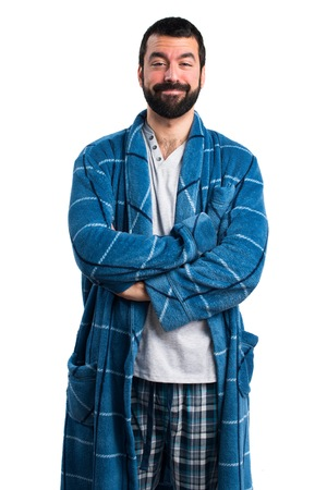 dressing gown: Man in dressing gown with his arms crossed