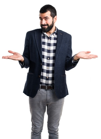 unimportant: Handsome man making unimportant gesture Stock Photo