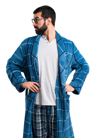 dressing gown: Man in dressing gown looking lateral