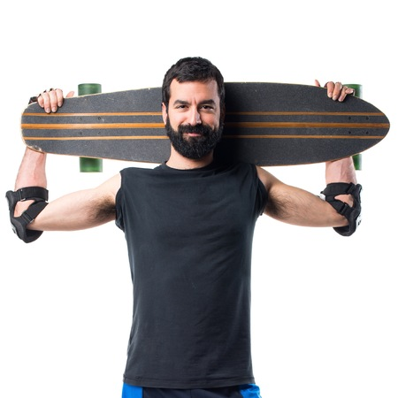 longboard: Skater with his longboard Stock Photo