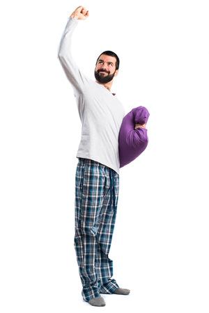 awake: Lucky man in pajamas