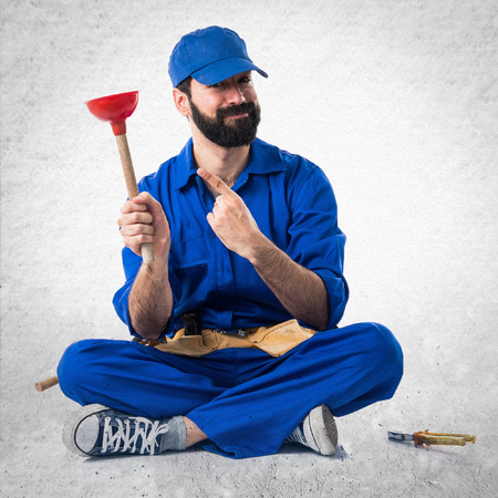 plunger: Plumber man with his plunger