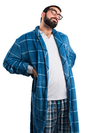 dressing gown: Man in dressing gown with back pain