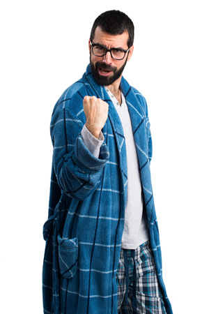 dressing gown: Lucky man in dressing gown