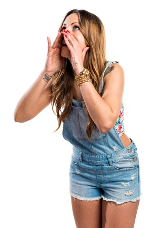 jumper: Pretty girl in jumper shorts shouting
