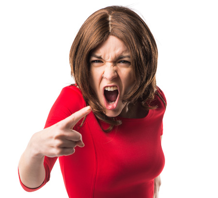 woman shouting: Brunette woman shouting
