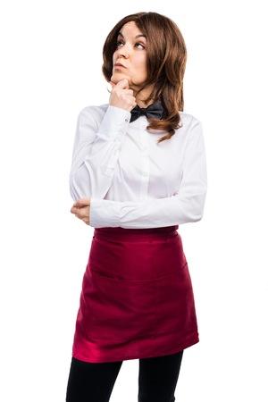 hotel staff: Waitress thinking