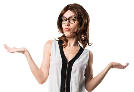 unimportant: Brunette woman making unimportant gesture
