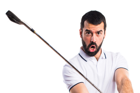 hit: Golfer giving a hit Stock Photo