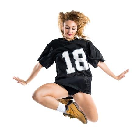street dance: Woman dancing street dance and jumping