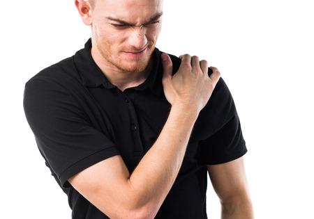 luxacion: Hombre con dolor de hombro Foto de archivo