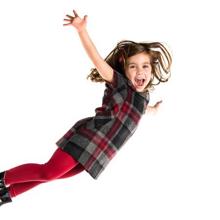niños rubios: Poco chica voladora Foto de archivo