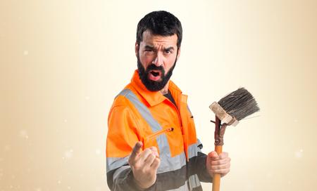 aseo: grito del hombre de basura Foto de archivo