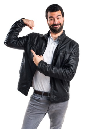 strong: Strong man with leather jacket