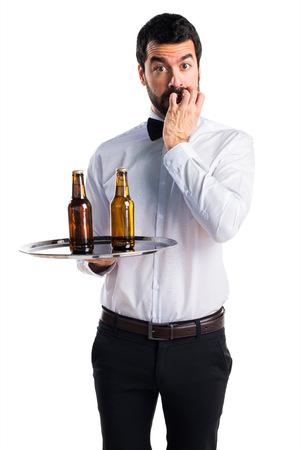 waiter: Frightened waiter Stock Photo